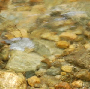 water flowing in a stream of pebbles